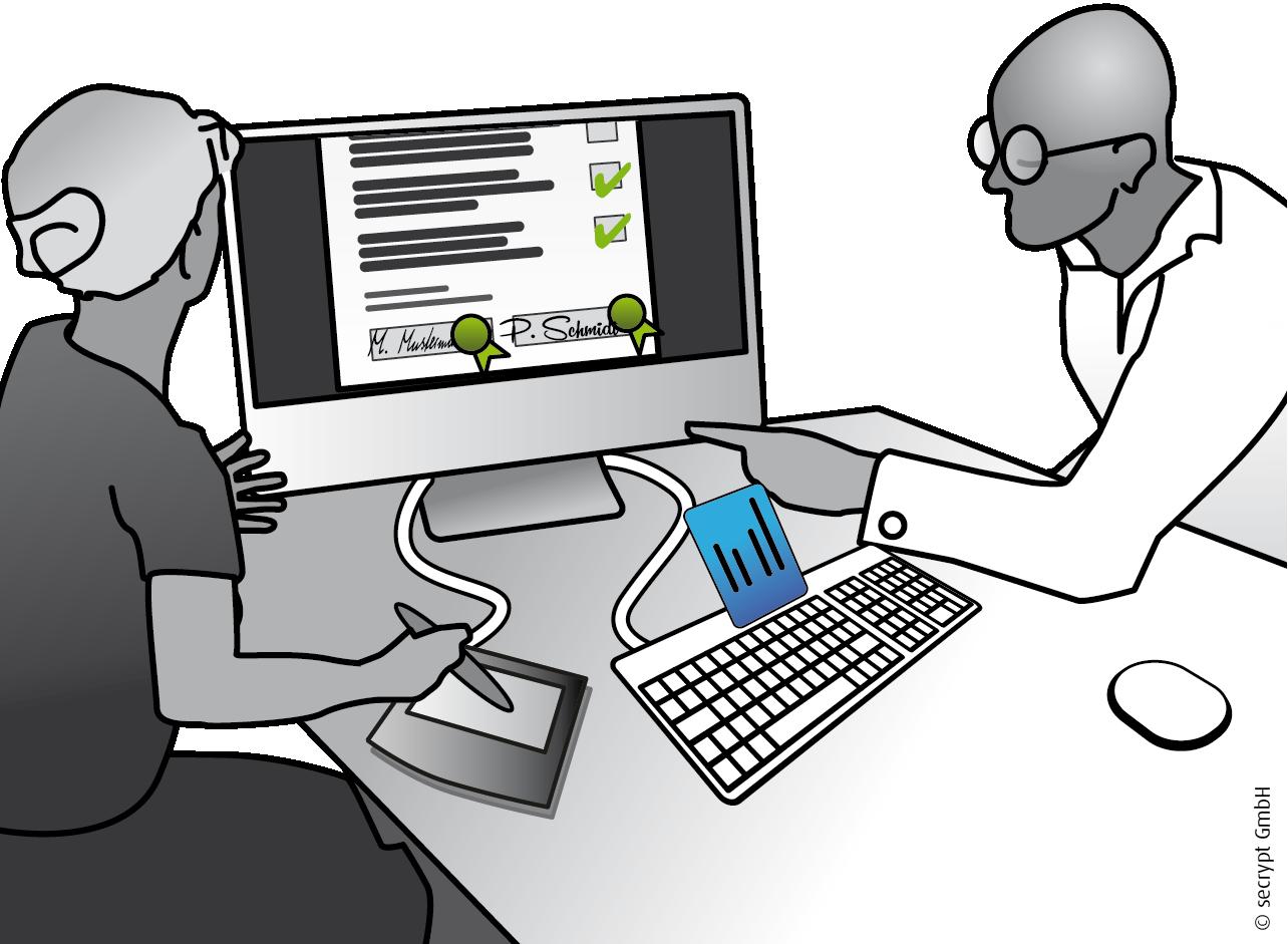 Unterschrift auf Tablet mit Lösungen der secrypt GmbH