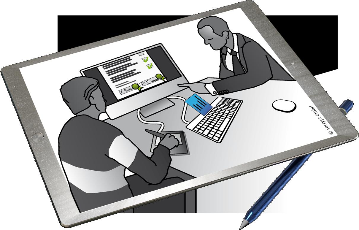Digitale Unterschrift auf Tablet mit Produkten der secrypt GmbH